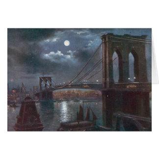 Puente de Brooklyn por claro de luna Tarjeta De Felicitación