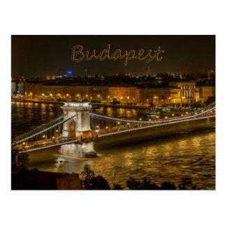 Puente de cadena de Szechenyi, postal de Budapest,
