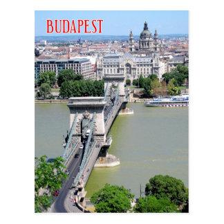Puente de cadena sobre el río Danubio, Budapest, Postal