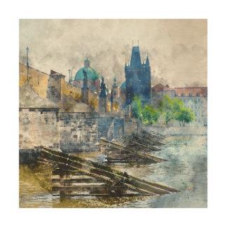 Puente de Charles en la República Checa de Praga Impresión En Madera