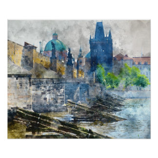 Puente de Charles en la República Checa de Praga Póster