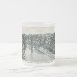 Puente de la garganta del río, vintage de taza de cristal