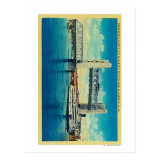 Puente de la torre elevado para el río Sacramento Tarjeta Postal