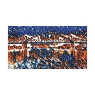 Puente de LaCrosse sobre la pintura de aceite Impresión En Lienzo