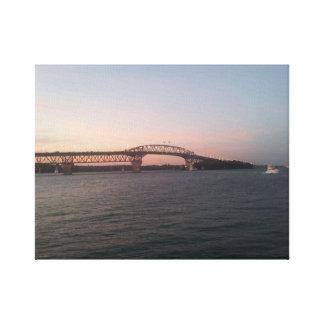 Puente del puerto de Auckland en la oscuridad Impresiones En Lona