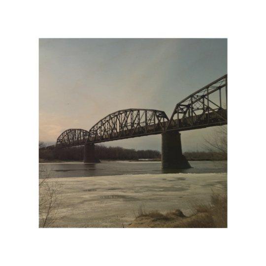 Puente del tren del río Missouri Impresión En Madera
