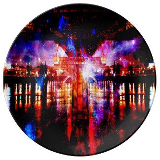 Puente del universo del arco iris plato de porcelana