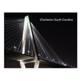 Puente en la noche, SC de Charleston, postal de