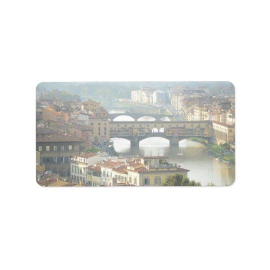 Puente viejo Florencia Italia de Ponte Vecchio Etiqueta De Dirección