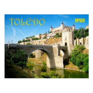 Puente y Alcazar de Alcantara en Toledo, España Postal