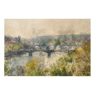 Puentes en la República Checa de Praga Impresión En Madera