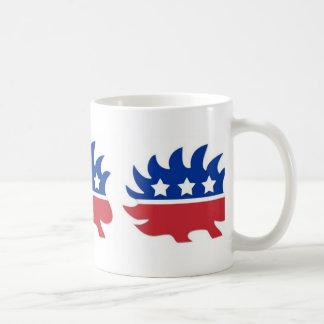 Puerco espín libertario taza de café