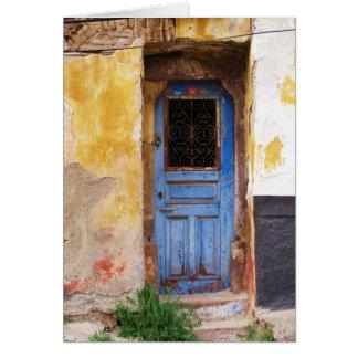 Puerta azul griega - Creta Tarjeta De Felicitación