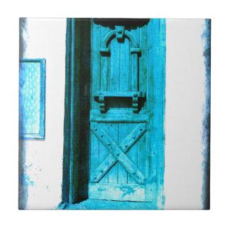 Puerta azul rústica tradicional Santorini GRECIA Azulejo Cuadrado Pequeño