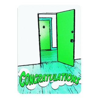 puerta cómica de la enhorabuena invitación personalizada