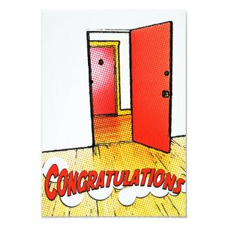 puerta cómica de la enhorabuena invitación 8,9 x 12,7 cm
