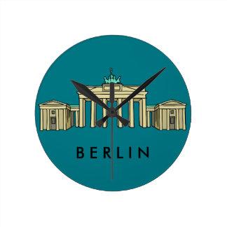 Puerta de Brandeburgo en Berlín Reloj Redondo Mediano