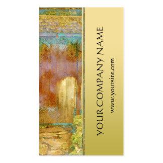 Puerta de jardín en turquesa, oro, y verde tarjetas de visita
