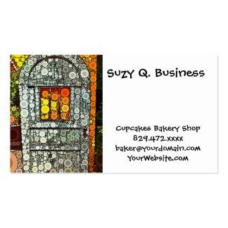 Puerta de madera del patio al sudoeste azul fresco tarjetas de visita