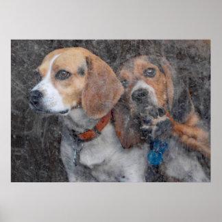 Puerta de tormenta sucia del beagle divertido póster