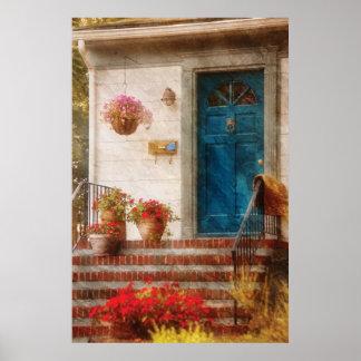 Puerta - puerta principal azul poster