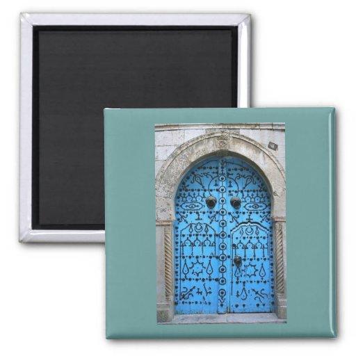 Puerta tradicional tunecina del vintage iman de frigorífico