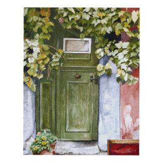 Puerta verde vieja cuadro