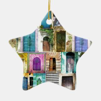 Puertas y Windows de alrededor del mundo Adorno Navideño De Cerámica En Forma De Estrella
