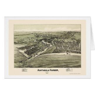 Puerto de Ashtabula, mapa panorámico del OH - 1896 Tarjetón