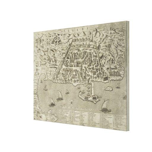 Puerto y ciudad de Argel, c.1572 (grabado) Lienzo Envuelto Para Galerías