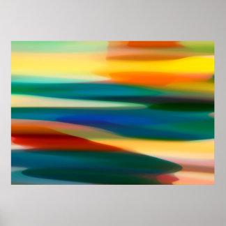 Puesta del sol abstracta póster