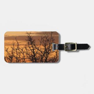 Puesta del sol colorida con la silueta del árbol etiqueta para maletas