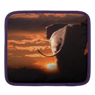 Puesta del sol con el elefante funda para iPad