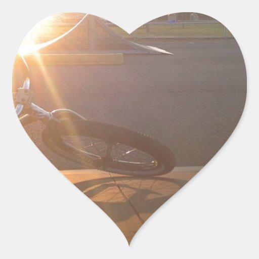 Puesta del sol de BMX Calcomanías Corazones Personalizadas