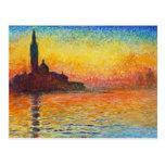 Puesta del sol de Claude Monet en Venecia Postal