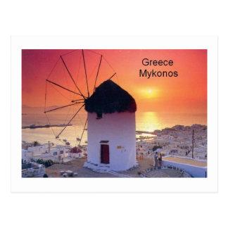 Puesta del sol de Grecia Mykonos (St.K) Postal