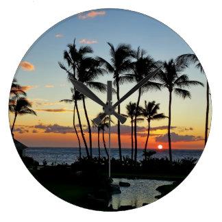 Puesta del sol de Hilton Reloj Redondo Grande