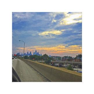 Puesta del sol de la carretera de Philadelphia Impresión En Lienzo
