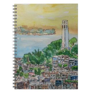 Puesta del sol de la oscuridad de San Francisco Cuaderno