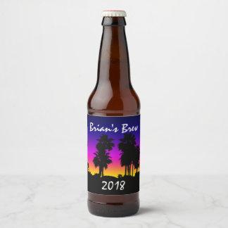 Puesta del sol de la palmera etiqueta para botella de cerveza
