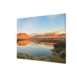 Puesta del sol de Laguna Nimez, EL Calafate Impresión En Lienzo