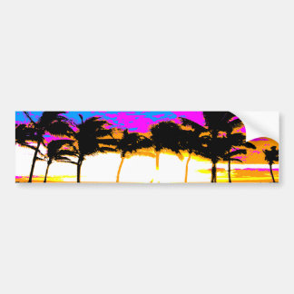 Puesta del sol de las palmeras del tigre 80s de Co Etiqueta De Parachoque