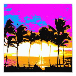 Puesta del sol de las palmeras del vintage del invitación 13,3 cm x 13,3cm