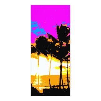 Puesta del sol de las palmeras del vintage del invitación 10,1 x 23,5 cm