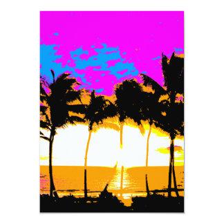 Puesta del sol de las palmeras del vintage del invitación 12,7 x 17,8 cm
