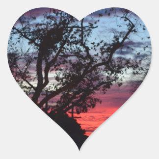 puesta del sol de Los Ángeles Pegatina En Forma De Corazón
