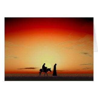 Puesta del sol de Maria y de José Tarjeta De Felicitación