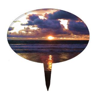 Puesta del sol de Marina Del Rey Decoración De Tarta