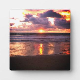 Puesta del sol de Marina Del Rey Placa De Plastico