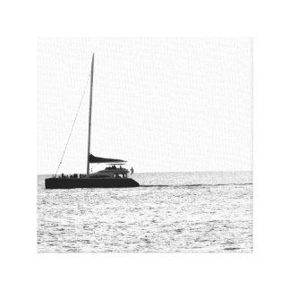 Puesta del sol de Maui, Hawaii (blanco y negro) Lienzo